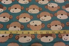 Cute Monkey Faces  Allover Teal Cotton FLANNEL Fabric BTY