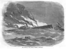 The Burning of the Galway Steam Ship Connaught - Antique Print 1860