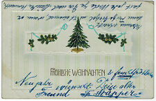 Embossed Xmas Card from Windhuk, German Southwest Africa,1912 to Germany