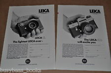 1975 LEICA camera 2-sided advertisement, CL, SL2, Ernst Leitz, European ad