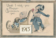 1913 Calendar on Cardboard Christmas Card, Dutch Ice Skating Children Sgd Wall