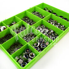 1240 ASSORTED PIECE A2 STAINLESS M4 M5 M6 M8 M10 M12 NYLOC NUTS FLAT WASHERS KIT