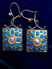 Antique Georgian Old Gold, Turquoise and Pearl Earrings
