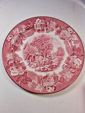 "Vintage ENOCH WOODS English Scenery WOOD & SONS Pink/ Red 10"" DINNER PLATE Mint"
