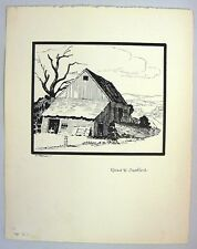 "1953 C. Palmer Ink Drawing of an Early Inn on the ""Road To Sanford"" Landscape"