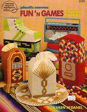 USED FUN 'N GAMES TISSUE BOX COVER JUKEBOX GUMBALL PLASTIC CANVAS PATTERN BOOK