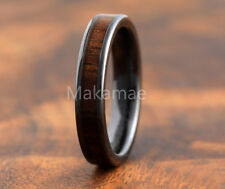 Black Ceramic  Inlaid  Koa Wood 4mm Flat Comfort Fit  Ring