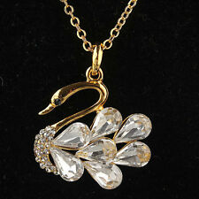 New 14k Gold Plated Clear Austrian Crystal Swan Pendant Necklace ND0515