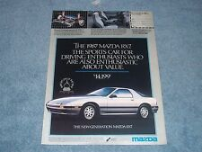 """1987 Mazda RX-7 Vintage Ad """"Sports Car for Driving Enthusiasts...."""""""