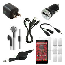 12 pcs Bundle Black USB Cable+2 Wall Charger+Headset for Motorola Droid Ultra 4G