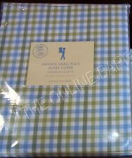 Pottery Barn Kids Hayden Small Plaid Bed Duvet Cover Full Queen FQ Green Blue