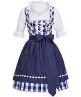 Trachtenkleid Dirndl Damen - Set 3 tlg - Karo Groß Blau - 100% Baumwolle