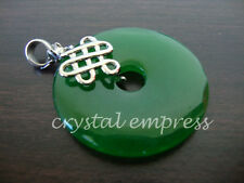 FENG SHUI - JADE DISC PENDANT WITH MYSTIC KNOT (WHITE GOLD PLATED)