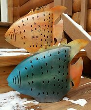 Vintage Brutalist Metal Fish Art Hanging Rustic Candle Holder Primitive Distress