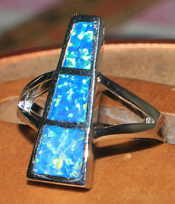 blue fire opal ring Gemstone silver jewelry Sz 7.25 modern design Z