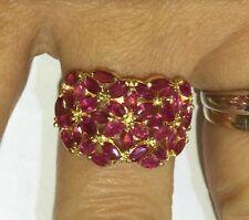 14K Solid Yellow Gold Cluster Ring with Natural Ruby Marquise Cut 3.46GM Size7