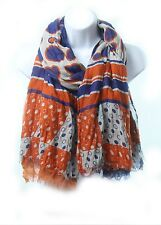 UVA Scarf. Triple Layer Scarf: Orange and Blue and Polkadots. Go Cavaliers!
