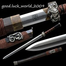 Handmade Chinese Han Jian Sword Pattern Steel White Copper Fitting Ebony Sheath
