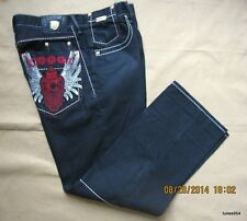 Coogi Black Red White Gold Eagle Wings Denim Pants Jeans Urban Wear W 38 L 34