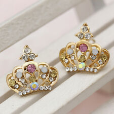 Women Gold Plated Crystal Rhinestone Ear Stud Earrings Korean Style Hot Selling