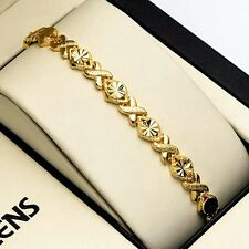 """18K Yellow Gold Filled Women Bracelet 7.3"""" Chain Charms Link Fashion Jewelry NEW"""
