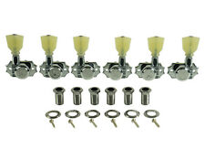 Kluson Revolution Locking Tuners 3x3 Pearloid keystone button Chrome KEDPL-3801C