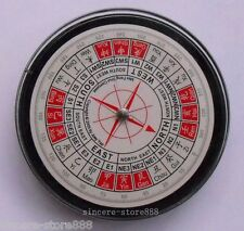 Feng Shui Chinese Exquisite Pocket Compass Round English Liquid Luopan Luo Pan