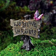 Miniature Fairy Garden Sign w/Butterfly pick We Believe in Fairies/Faerie 17231