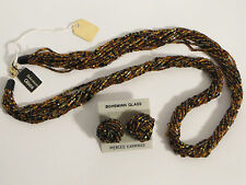 """Bohemian Seed Bead Amber Colored Glass Multi-Strand Necklace & Earring Set 31"""""""