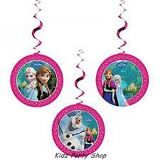 Disney Frozen Birthday Party - 3 Hanging Swirl Decorations  - Free Post in UK