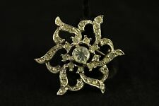 Vintage Antique Costume Jewelry Silver Tone Rhinestone Pointed Flower Brooch Pin