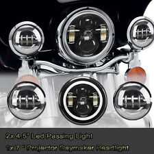 "7"" LED Halo Ring Projector Daymaker Headlight 4.5"" Passing Light For Harley H-D"