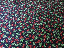 "Retro Style Cherries Print 100% Cotton Fabric 45"" Wide - Sold Per Half Metre"