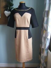 NEW Together Black and Camel Colour Block Dress - Size 12