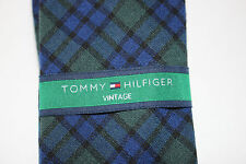 NWT TOMMY HILFIGER Men's Navy Blue & Green Plaid Wool VINTAGE Skinny Neck Tie OS