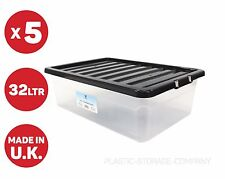 5 x 32 LITRE UNDERBED PLASTIC STORAGE BOX!! CLEAR BOX WITH BLACK LID!! CHEAP!!