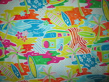 RETRO VW BUS SURF BOARDS YELLOW BLACK COTTON FABRIC FQ