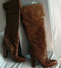 JESSICA SIMPSON Marbled Dark Tan Leather Knee High,High Heel boots. 10M