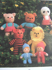 JEAN GREENHOWE TOY / DOLL KNITTING PATTERN SUPER SEVEN Teddy Panda Piglet etc
