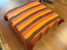 Moroccan Hand Woven Kilim Wool Square Ottoman Pouf Chair in Multicolor Patterns