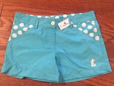 Disney Parks Girls Shorts Size 7 Solid Blue Polka Dot Pockets Mickey Emblem NWT