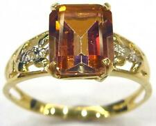 HOT 10KT YELLOW GOLD OCTAGON YELLOW MYSTIC TOPAZ & DIAMOND RING SIZE 7  R1337