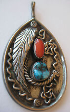 """BOLD STERLING SILVER PENDANT TURQUOISE RED CORAL 23.5 G ARTISAN TRIBAL 2 3/4"""""""