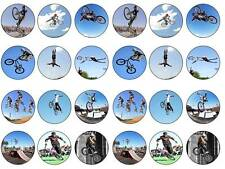 24 cake topper bmx stunt bike action  bun fairy cupcake toppers birthdays party