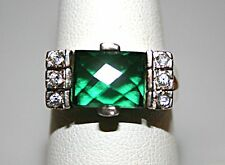 Sterling Silver Ring Emerald  May Birthstone 8x10 Size 8.75 T3#137