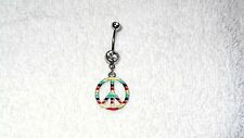 Multi Colored Rasta Peace Sign Belly Button Navel Ring Body Jewelry Piercing