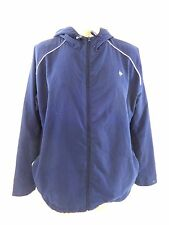 DUNLOP MENS NAVY ATHLETIC TRACK FITNESS WINDBREAKER FULL ZIP HOODED SIZE XL