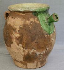 ANCIENNE GRANDE CRUCHE A EAU PROVENCALE EN POTERIE TERRE CUITE VERNISSEE