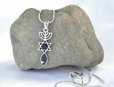 Necklace&pendant Black silver rhodium.Menorah/Star Of David/Fish. Messianic