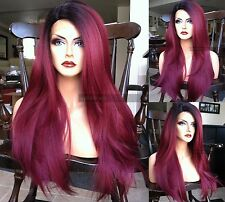 "USA / 24"" LONG Dark Wine Red LACE FRONT & PART Kinky Yaki HEAT OK Dark Roots Wig"